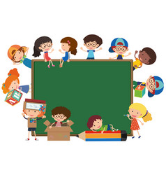 board with happy kids around it vector image