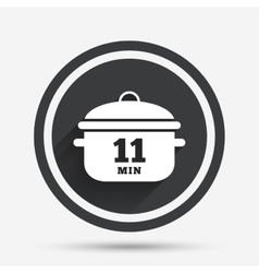 Boil 11 minutes Cooking pan sign Stew food vector image
