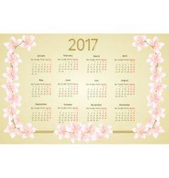 Calendar 2017 with sakura flowers vintage vector