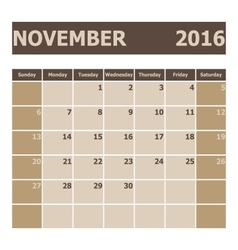 Calendar November 2016 week starts from Sunday vector image