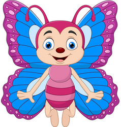 cartoon funny butterfly isolated vector image
