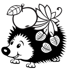 cartoon hedgehog black white vector image