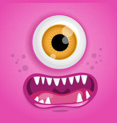 Cartoon monster face halloween pink vector