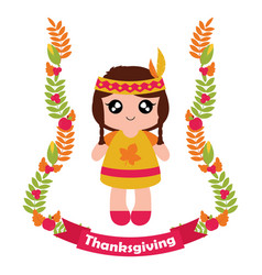 Cartoon with cute indian girl in maple leaves vector