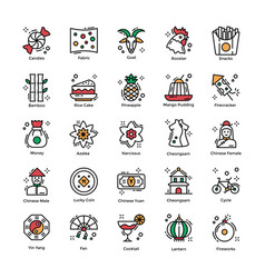 Chinese new year celebrations flat icons pack vector