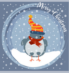 christmas card with little bird vector image