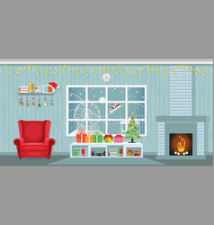 christmas party in living room with armchair vector image