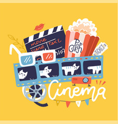 cinema sign with icons set flat doodle bright vector image