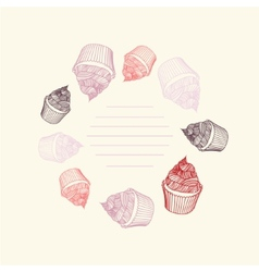 Circular pattern of cupcakes with chalks sketches vector