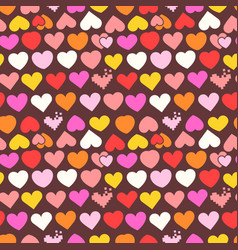 color heart seamless pattern vector image