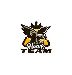 colorful emblem badge logo of flying eagle bird vector image