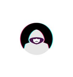 Creative hidden hacker circle logo vector