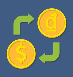 Currency exchange Dollar and Dong vector image