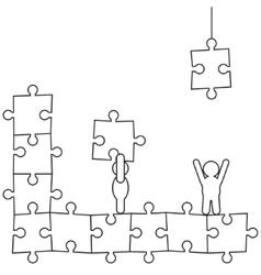 Doodle manikins make puzzle vector