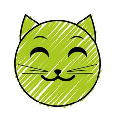 Doodle smile cat face emoji expression vector