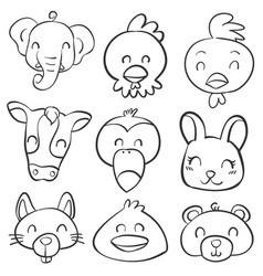 Doodle various animal head style vector
