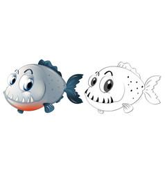 Drafting animal for piranha fish vector