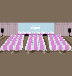 Empty conference auditorium with pink chairs vector