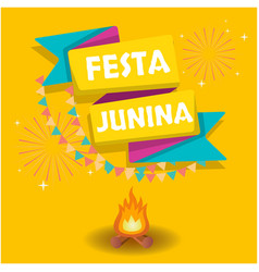 festa junina ribbon flag bonfire fireworks orange vector image
