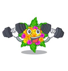 Fitness lantana flowers in the mascot pots vector