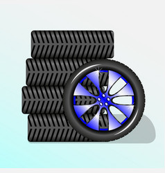 five wheels for car vector image