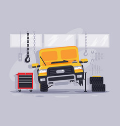 flat yellow car with wheel and equipment at vector image