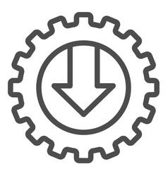 Gear and arrow line icon mechanic vector