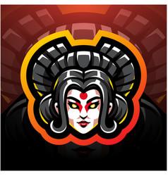 Geisha head esport mascot logo design vector