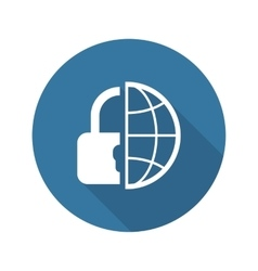 Global Security Icon Flat Design vector