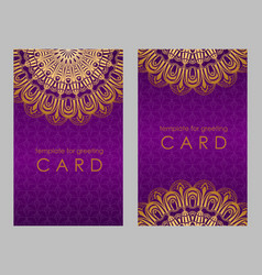 Greeting card golden ethnic patterns on violet vector