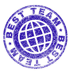 Grunge textured best team stamp seal vector