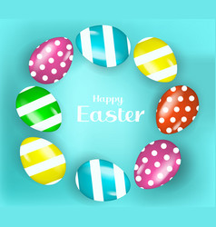 Happy easter banner poster with realistic easter vector