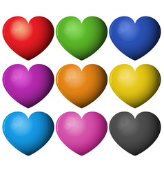 Heart shape in different colors vector