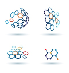 Hexagonal abstract icons business and communicatio vector