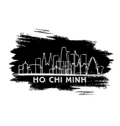 ho chi minh vietnam city skyline silhouette hand vector image