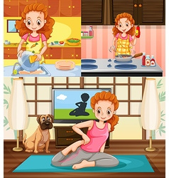 Housewife doing different activities vector