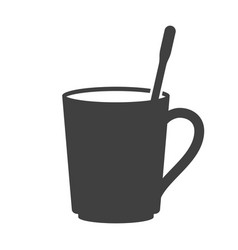 Icon of a mug with a teaspoon inside on white vector