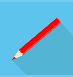Icon square shape icons of red pencil in flat vector