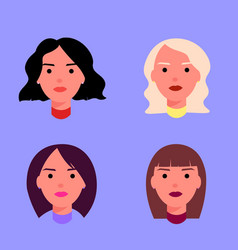 icons set female heads vector image