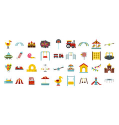 Kid amusement icon set flat style vector