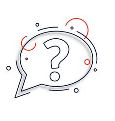 Line style question mark chat bubble design vector