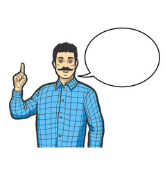 man with index finger up color sketch engraving vector image