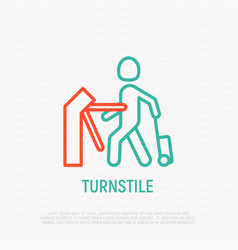 man with suitcase going through turnstile vector image