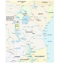 Map great african lakes vector