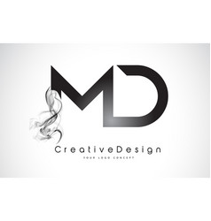 Md letter logo design with black smoke vector