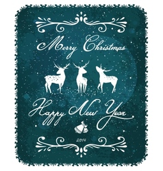Merry Christmas and New Year Vintage Deer Greeting vector image
