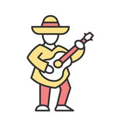 Mexican with guitar color icon latin musician vector