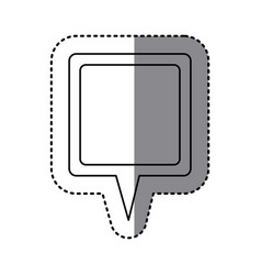 monochrome sticker of square speech with tail vector image