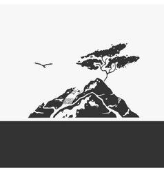 Mountain and waterfall emblem vector