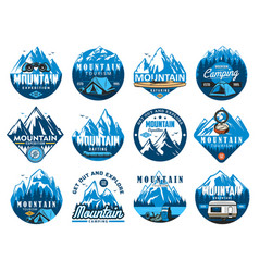 Mountain tourism rafting and kayaking icons vector